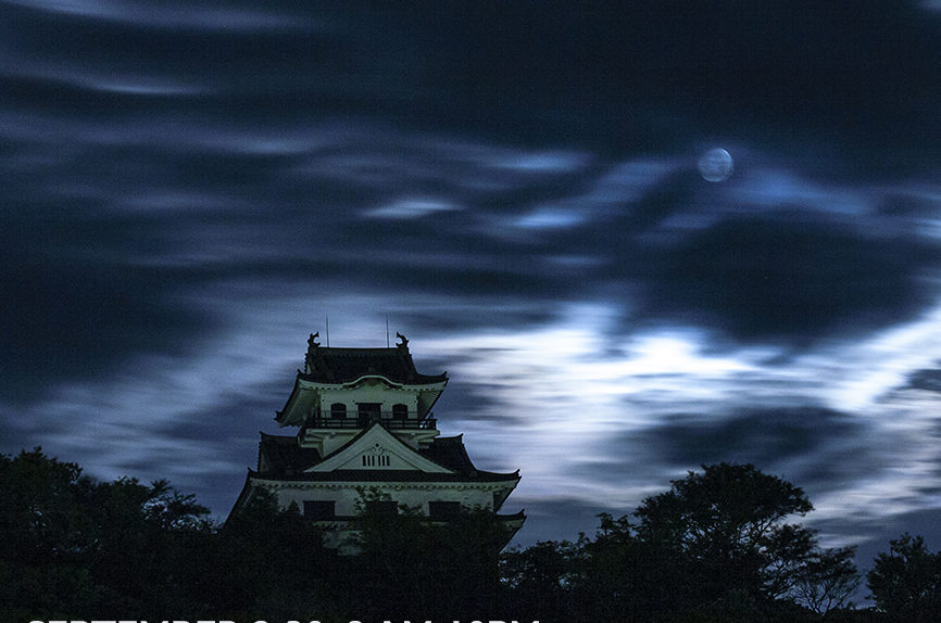 photo of Japanese castle at night under full moon. Exhibition dates sept 2 to 20, 2019 in Jiyugaoka.